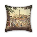 16 X 16 Inches / 40 By 40 Cm Oil Painting Dodwell Edward - The Bazaar At Athens Pillow Cases ,two Sides Ornament And Gift To Bedroom,her,home Theater,floor,divan,birthday