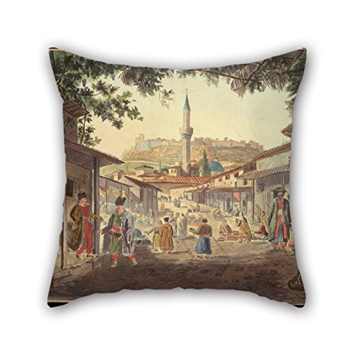 16 X 16 Inches / 40 By 40 Cm Oil Painting Dodwell Edward - The Bazaar At Athens Pillow Cases ,two Sides Ornament And Gift To Bedroom,her,home (Turquoise Zebra Roll)