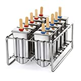 Stainless steel ice cream molds,ixaer 10 set Stainless Steel Popsicle Ice Lolly Pop Mold DIY with 10pcs popsicle molds, 10pcs lids, 10pcs silicone rings for Stability Summer 2018