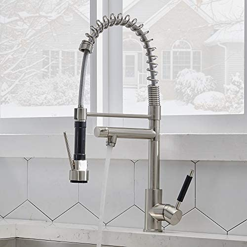 CASILVON Modern Commercial High Arc Solid Brass Spring Single Handle 2 Spouts Single Hole Pull Out Brushed Nickel Kitchen Faucet, 360 Degree Swivel Farmhouse Kitchen Sink Faucet with Pull Down Sprayer
