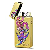 Kivors USB Rechargeable Flameless Electronic Dual Pulse Arc Cigarette Lighter Belief, Gold Phoenix