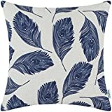CaliTime Canvas Throw Pillow Cover Case for Couch Sofa Home Decoration Peacock Feathers 18 X 18 Inches Navy Blue
