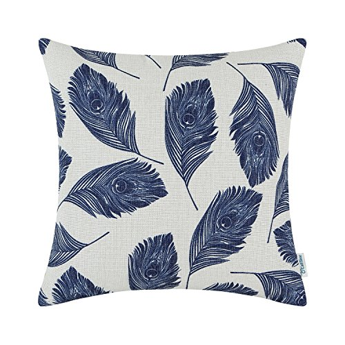 CaliTime Canvas Throw Pillow Cover Case for Couch Sofa Home Decoration Peacock Feathers 18 X 18 Inches Navy Blue (For Sale Chair Peacock White)