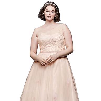 David\'s Bridal Floating Flower A-Line Plus Size Wedding Dress Style ...