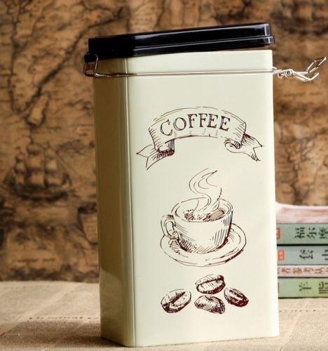 Sealed Metal (Decorative Jar Style Retro Large Beige Coffee Cup Kitchen Coffee Tea Sealed Container Jar Tin Metal Jar Decoration Home Decor 21.5cm X 12cm X)