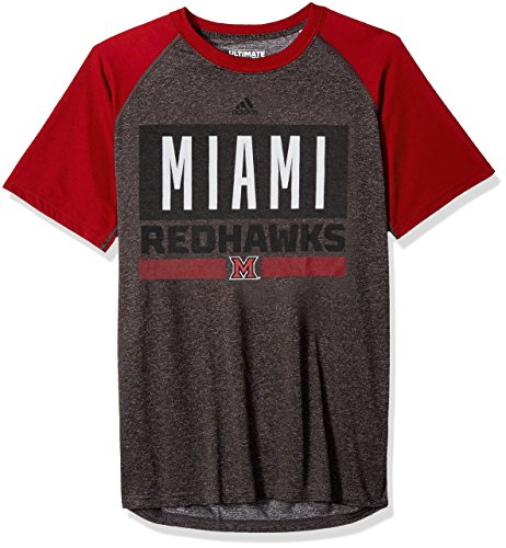 adidas NCAA Miami (Ohio) Redhawks Adult Men Linear Stacked Ultimate Raglan S/Tee, XX-Large, Dark Gray Heathered/Power Red ()