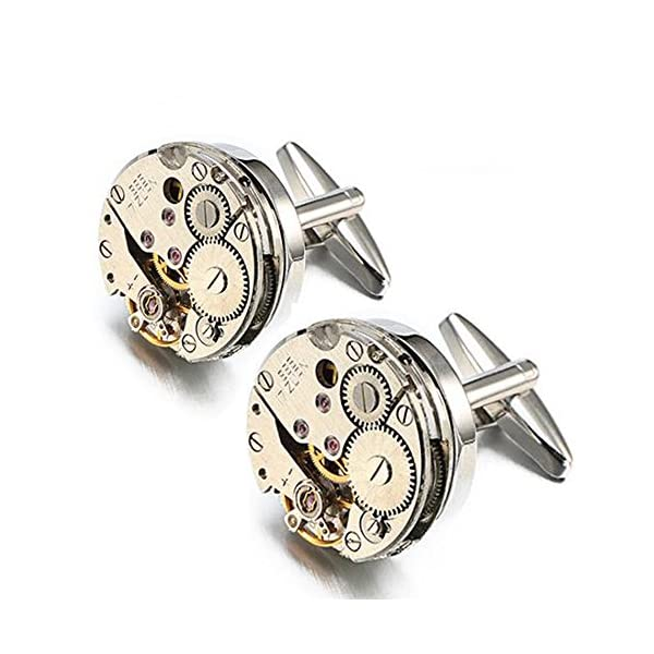 EnjoIt Mens Cufflinks Mechanical Watch Movement Shape Steampunk Cufflinks Gifts for Men 3