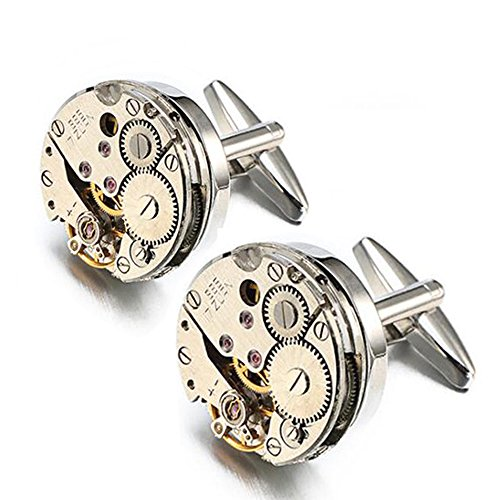 EnjoIt Mens Cufflinks Mechanical Watch Movement Shape Steampunk Cufflinks Gifts for Men