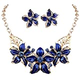 Zjzhao shop Fashion Women Crystal Flower Statement Gold Plated Necklace Earrings Jewelry Set (Blue)