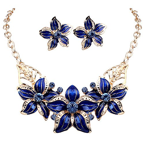 Zjzhao shop Fashion Women Crystal Flower Statement Gold Plated Necklace Earrings Jewelry Set (Gold Plated Flower Necklace Earrings)