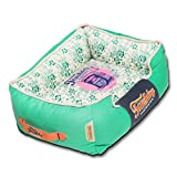 Touchdog Floral-Galore Vintage Printed Ultra-Plush Rectangular Designer Pet Dog Bed Teal Green White Medium