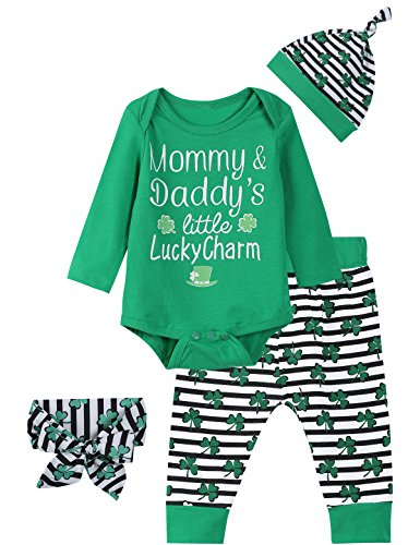 Mommy Charm - Okbebe Baby Boys Girls Outfit Set Mommy Daddy's Little Lucky Charm Bodysuit (Green, 3-6 Months)