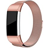 #2: For Fitbit Charge 2 Bands, Maledan Stainless Steel Milanese Loop Metal Replacement Accessories Bracelet Strap with Unique Magnet Lock for Fitbit Charge 2