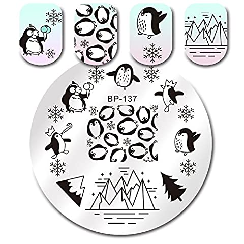 BORN PRETTY Round Stamping Plate Penguin Snowflake Christmas Iceberg Manicure Nail Art Image Plate - Penguin Squares