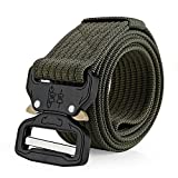 Tactical Belt Military Buckle, 1.5'' Heavy Duty Waist Belt, Nylon Webbing Waist Belt with Quick-Release Buckle,Wear-resisting Non-slip Breathable Waist Belt,Army Green