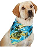 Aria Polyester/Cotton Blend Aloha Dog Bandana, 22-Inch, Blue