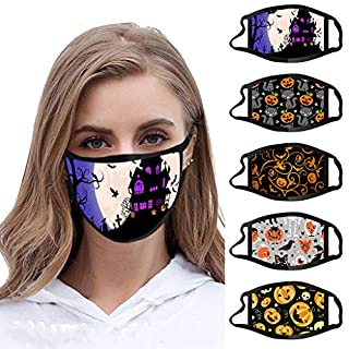 5PCS Adults Reusable and Breathable Cotton Face ṁɑşḱs, with Pumpkin Halloween Pattern Adjustable Mouth Covering, Indoors and Outdoors, Anti-Haze Dust, Washable Face Bandanas (5, B)