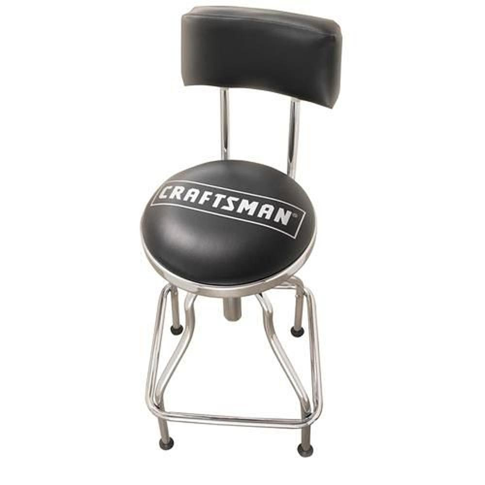 Amazon.com: Craftsman Chrome And Vinyl Hydraulic Stool   Comfortable  Swiveling Barstool For Home Bar Shop Or Garage (Black): Kitchen U0026 Dining