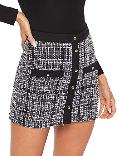 (WDIRARA Women's Elegant Button-Up A-Line Mid Waist Plaid Short Skirt Black and White XS)