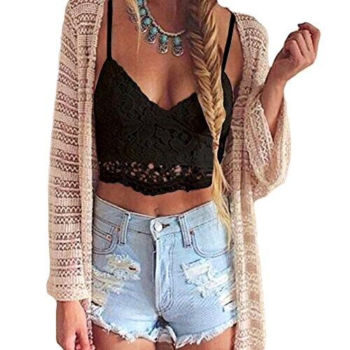 Romacci Women Crochet Tank Camisole Lace Vest Blouse Bralette Bra Crop Top Black
