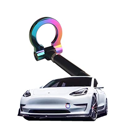 DEWHEL JDM Aluminum Track Racing Front Rear Bumper Car Accessories Auto Trailer Ring Eye Towing Tow Hook Kit Screw On for Tesla Model 3 (Neo Chrome): Automotive