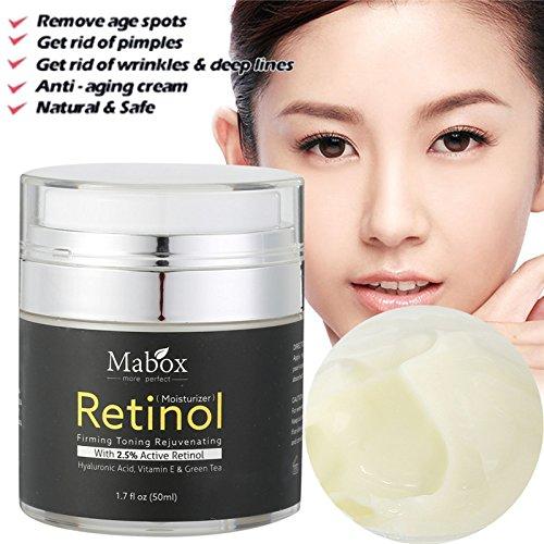Hot Retinol 2.5% Moisturizer Face Cream Vitamin E Collagen Retin Anti Aging Wrinkles Acne Hyaluronic Acid Green Tea Whitening Cream