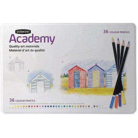 - Derwent Academy Colored Pencils, Metal Tin, 36 Count (2300225)