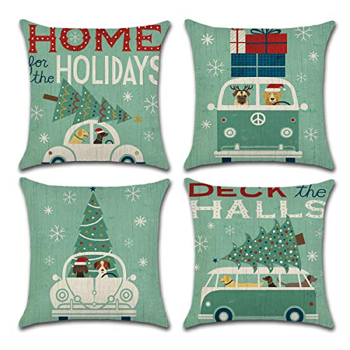 CARRIE HOME Christmas Tree and Green Car Throw Pillow Cover Home Decorative Cushion Case 18 x 18 inch Cotton Linen for Sofa, Set of 4