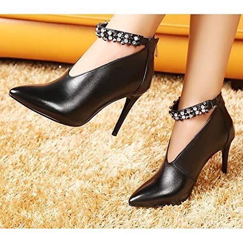 Mouton et Automne ZHZNVX Beige Peau Stiletto Femme Escarpins Chaussures Black de Heel Basiques Beige Confort Printemps pCIqUC