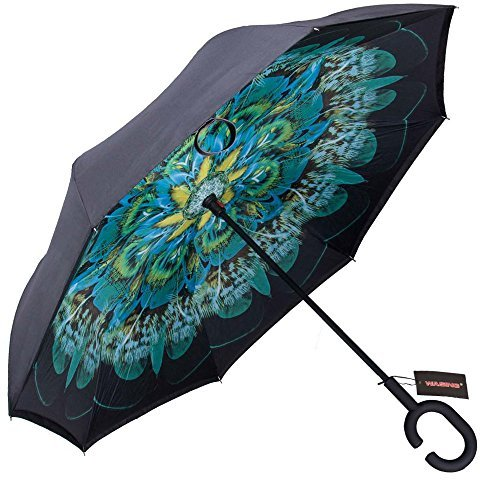 Anti Uv Umbrella (WASING Double Layer Inverted Umbrella Cars Reverse Umbrella, Windproof UV Protection Big Straight Umbrella for Car Rain Outdoor With C-Shaped Handle)