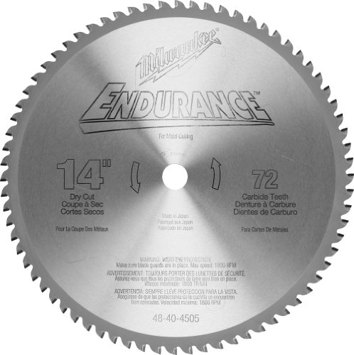 - Milwaukee 48-40-4505 14-Inch 72 Tooth ATB Dry Cut Carbide Tipped Saw Blade with 1-Inch Arbor for Blade Right Saws