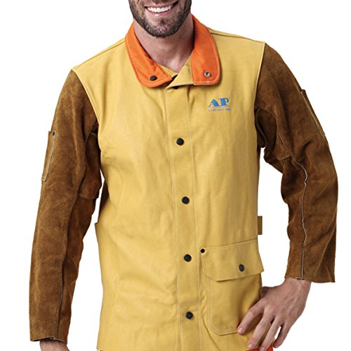 AP-2830 Extra SOFT Grain calfskin & split cowhide leather welding jacket for heavy duty work / Size XL