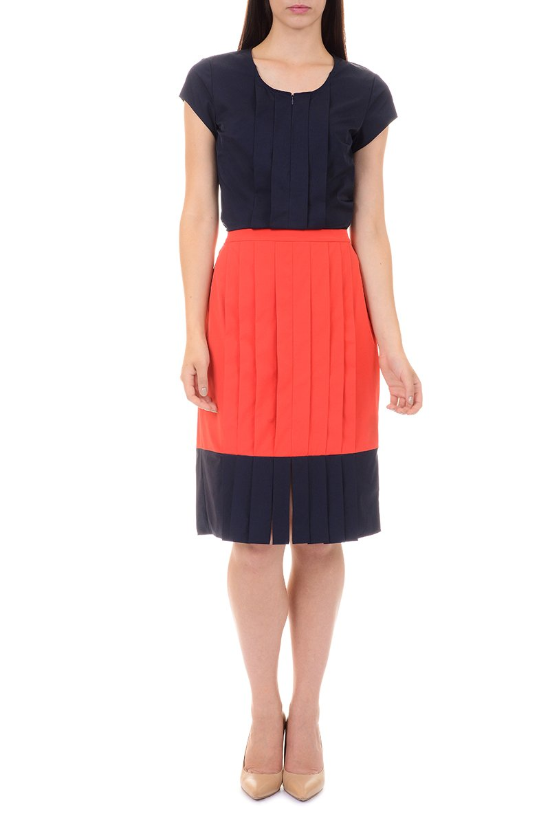 LM StyleBar CarWash Pleat Contrast Skirt Size Small, Color Coral/Navy