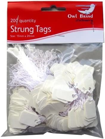 Packung mit 200 St/ück Gr/ö/ße 13mm x 20mm Wei/ß Preis Eintrittskarte mit String