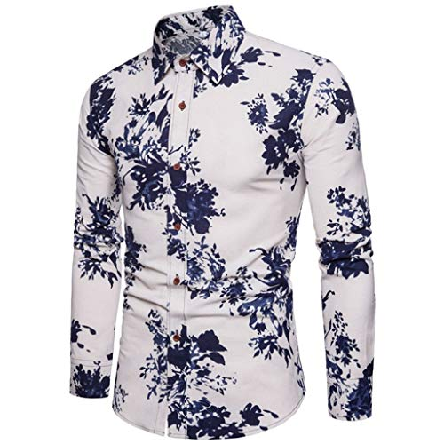Mens Stylish Floral Button Long Sleeve Shirt Shirt, MmNote Men's Casual Dry Fit Polo Shirts Long Sleeve T Shirt(M-XXXXXL) Blue