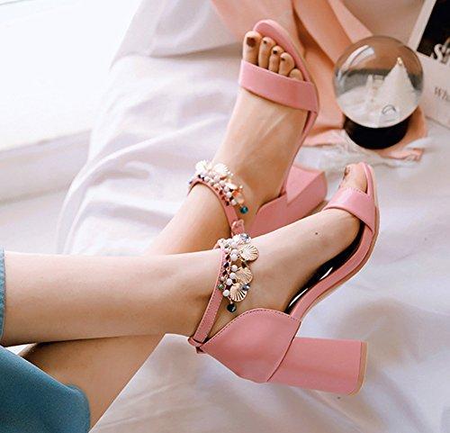 Femme Mode Franges Strass Ouvert Avec Sandales Rose Boucle Bout Multicolore Aisun ZA7wTqq
