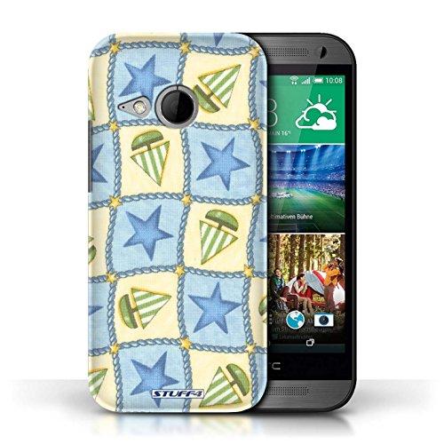 Etui / Coque pour HTC One/1 Mini 2 / Bleu/Vert conception / Collection de Bateaux étoiles
