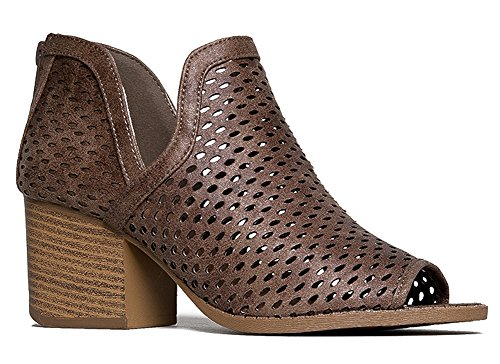 J. Adams Perch Perforated Bootie - Distressed Leather Block Heel Cut Out Boot