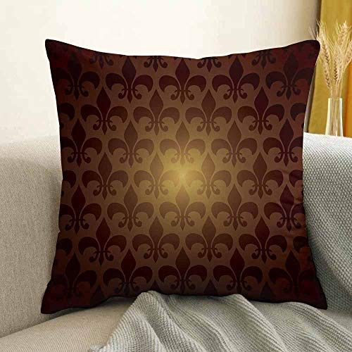 Fleur De Lis Microfiber Royal Lily Flower Inspired Floral Baroque Style Dark Pattern Modern Style Artwork Sofa Cushion Cover Bedroom car Decoration W24 x L24 Inch Brown