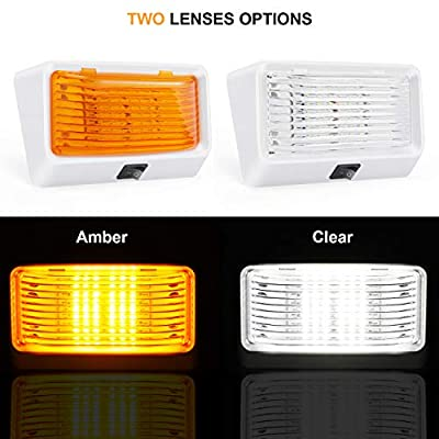 Kohree LED RV Exterior Porch Utility Light with Switch 12V Replacment Light for RVs, Trailers, Campers, 5th Wheels. 320 Lumen, White Base, Included Clear and Amber Lenses Removable: Automotive