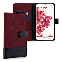kwmobile Wallet case canvas cover for Samsung Galaxy S5 / S5 Neo / S5 LTE+ / S5 Duos - Flip case with card slot and stand in dark red black