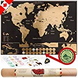 Beatnik & Rustik World Map Scratch Off Poster - with US States and Canadian Provinces. A Travel Journal for your Wall, Includes Scrapbooking Supplies, Guitar Pick, and Scratchable Bucket List