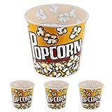 "Set of 3 Fun Movie Theater Style Plastic Popcorn Tubs - 8""-7.75"""