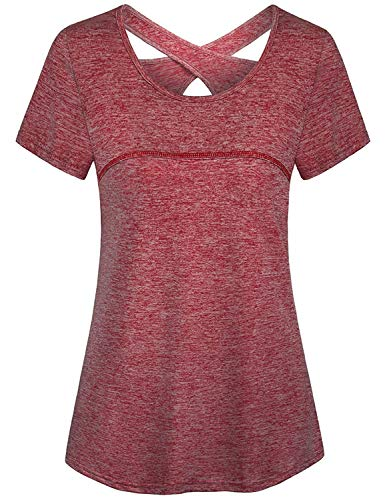 Tanst Sky Red Shirts for Women, Modlily Tops Special Hollow Out Back Fresh Design Active Wear Clothing Easy Fit Short Sleeve Round Neck Dance Outfits Comfortable Solid Color Basketball Clothes Red XL