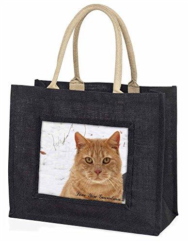 Advanta–Große Einkaufstasche Ginger Cat Love You Grandma Große Einkaufstasche Weihnachtsgeschenk Idee, Jute, schwarz, 42x 34,5x 2cm