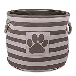 "Bone Dry DII Small Round Pet Toy and Accessory Storage Bin, 12""(Dia) x9(H), Collapsible Organizer Storage Basket for Home Décor, Pet Toy, Blankets, Leashes and Food-Brown Stripes"