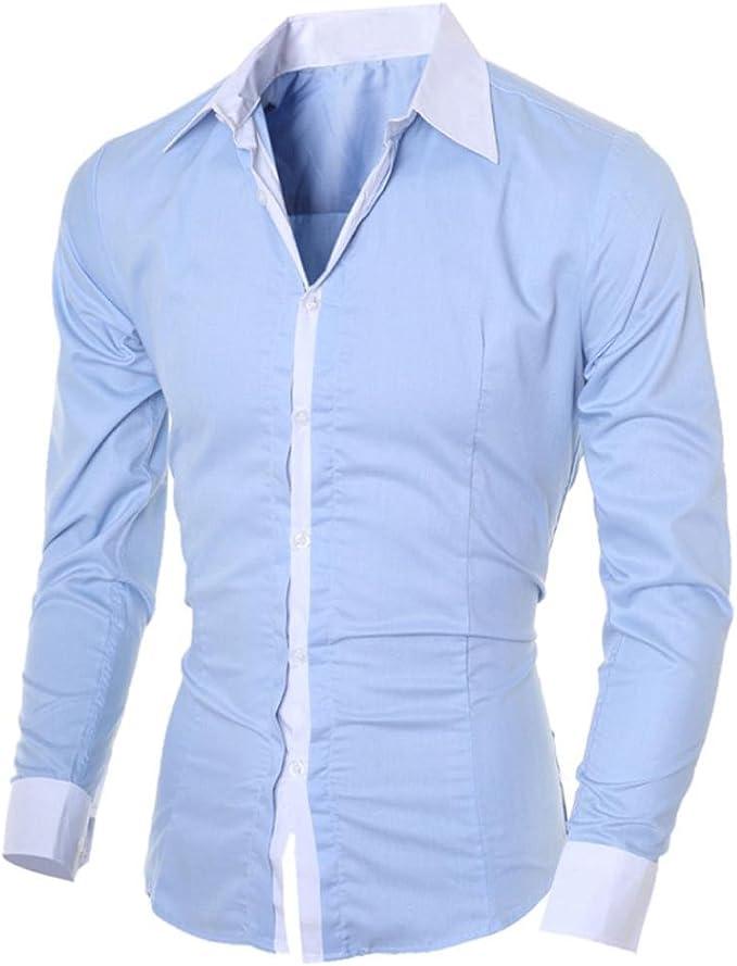 Herren Shirts Slim Fit Stehkragen Leinenhemd Business Langarm Freizeit Hemd Top