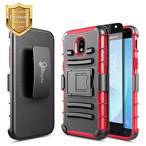 Galaxy J7 Star Case, J7 Refine /J7 V 2nd Gen /J7 2018 (J737) w/[Full Cover Tempered Glass Screen Protector], NageBee Belt Clip Holster [Heavy Duty] Shock Proof Kickstand Combo Rugged Case -Red