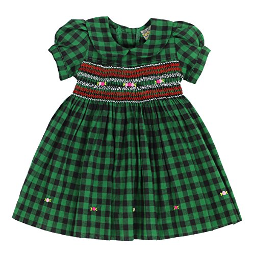 SISYMINI - Soft & Sweet Green Checker Hand-Smocked Dress with Classic Peter-pan Collar | Size -