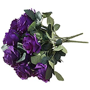 DALAMODA Purple 2 Bundles (with Total 20 Heads) Rose Flower Bouquet, for DIY Any Decoration Artificial Silk Flower(DL104-Purple)